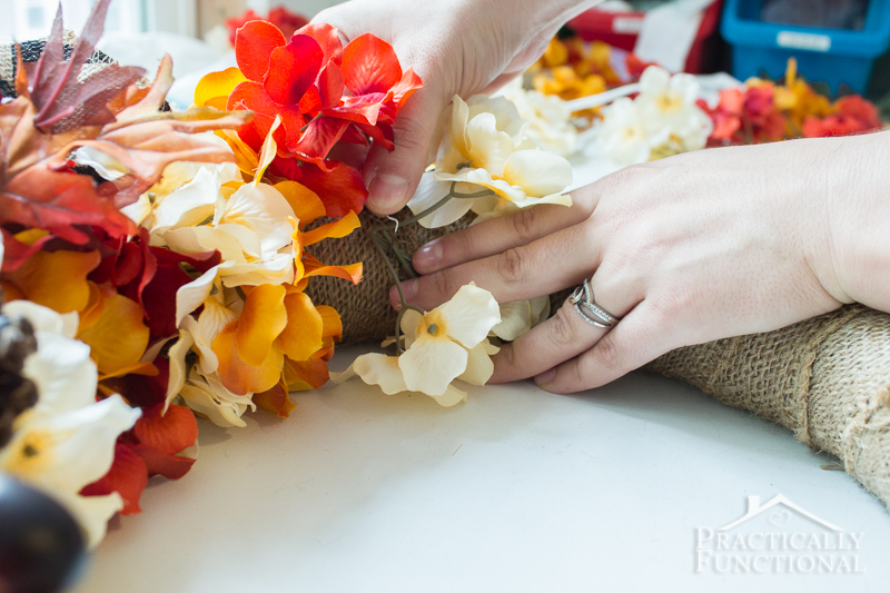 Simple DIY Burlap And Flowers Wreath For Fall Practically Functional 6