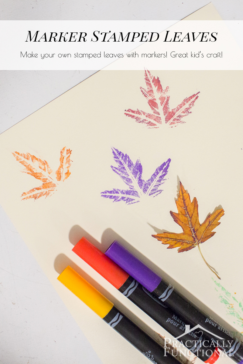 Stamp with real leaves using markers instead of paint! Way less messy and you can see a lot more detail in the leaves!