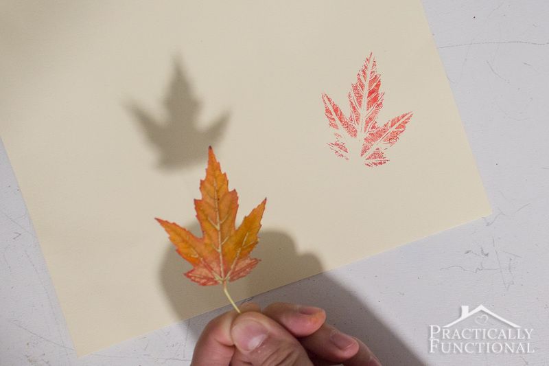 Use markers to stamp with real leaves