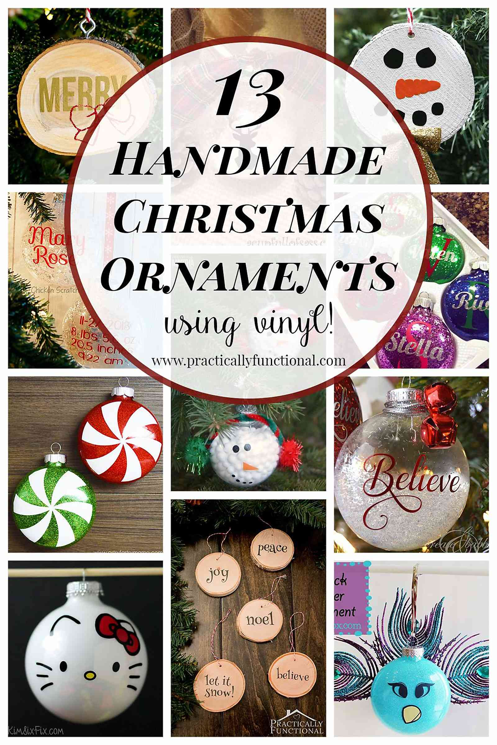13 Handmade Christmas Ornaments Using Vinyl