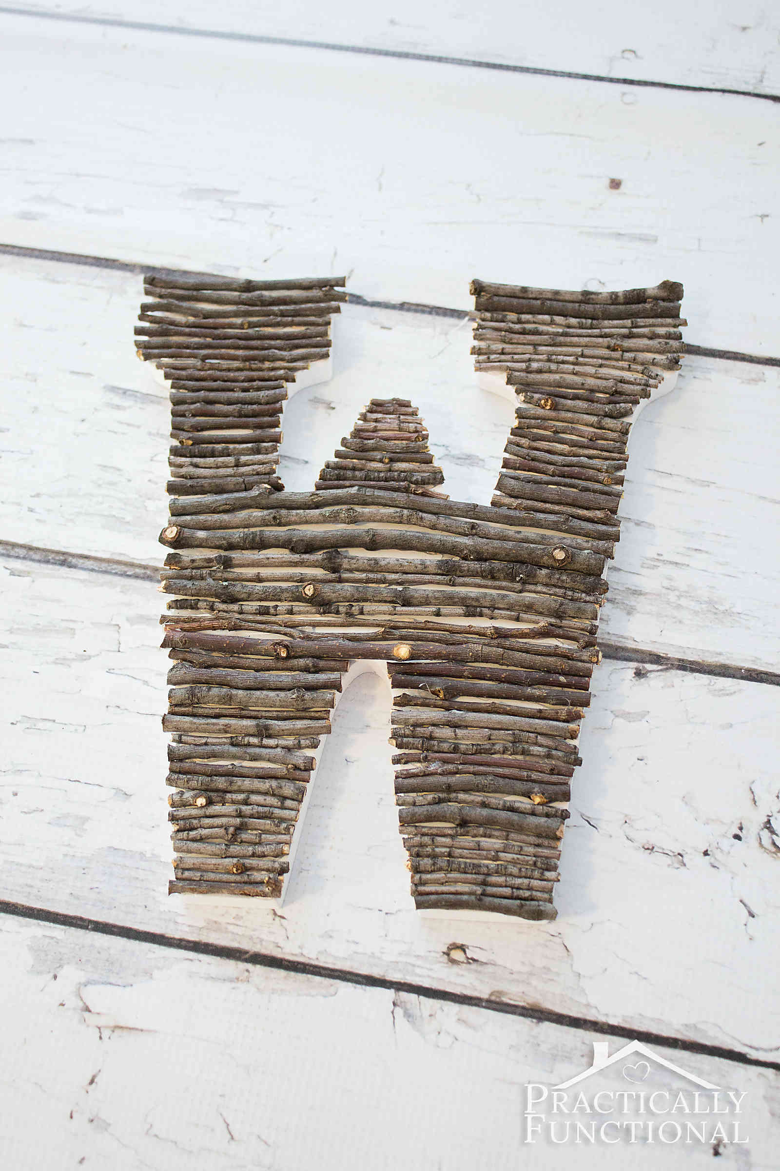 Make your own twig monogram in just a few minutes! Great way to bring a little nature indoors!