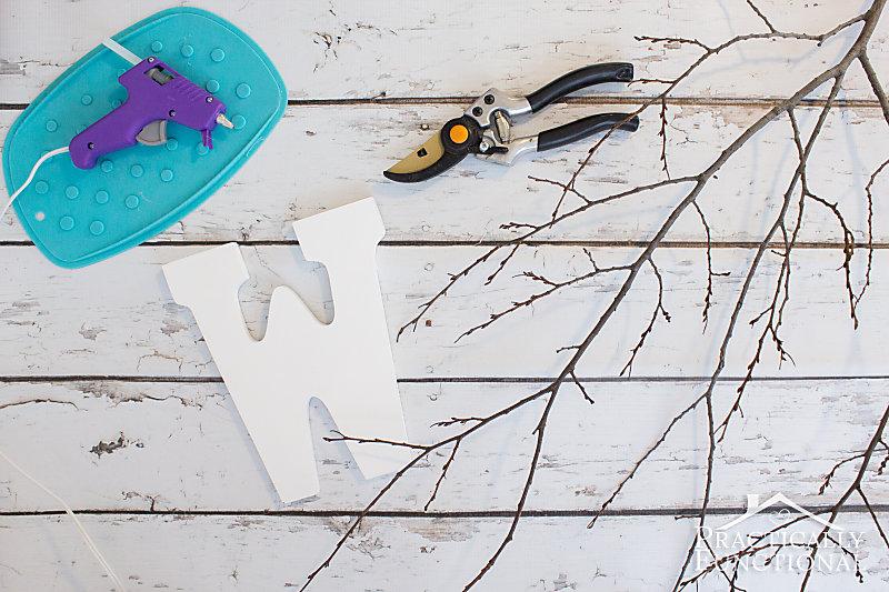 Supplies for DIY twig monogram