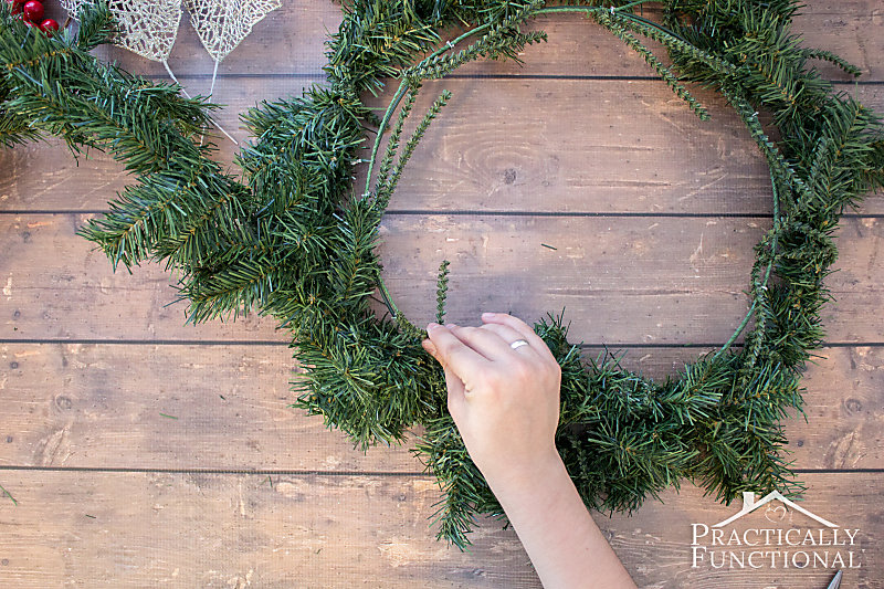 Attach the garland to the wreath form