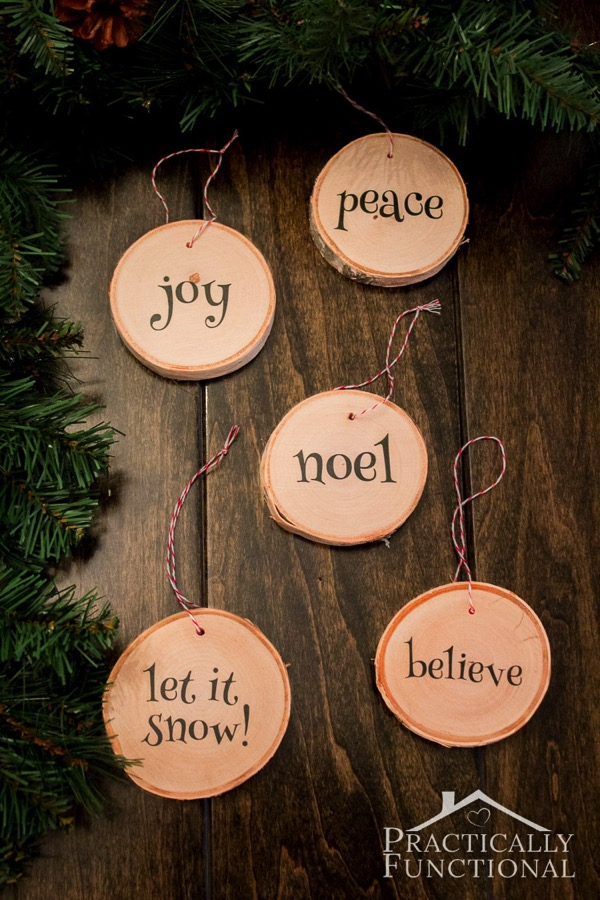 DIY Wood Slice Ornaments - and 12 other handmade Christmas ornaments using vinyl!