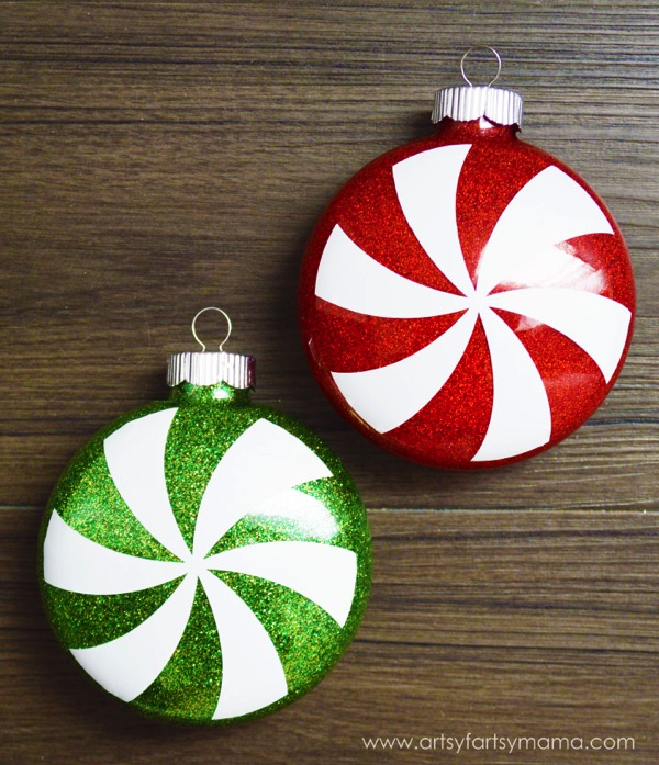 Glittered Peppermint Ornaments - and 12 other handmade Christmas ornaments using vinyl!