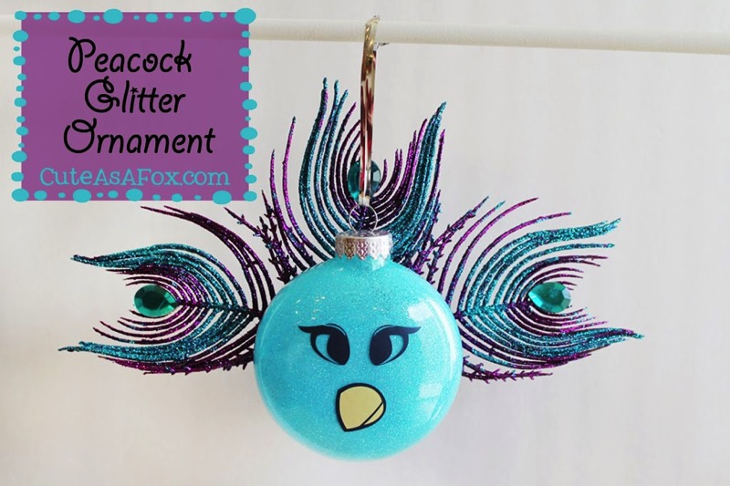Peacock Glitter Ornament - and 12 other handmade Christmas ornaments using vinyl!