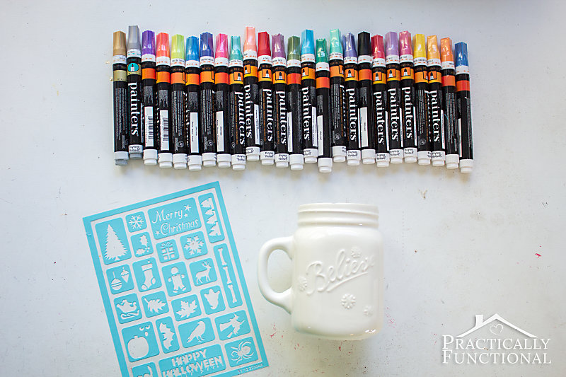 Supplies needed for making DIY painted mugs