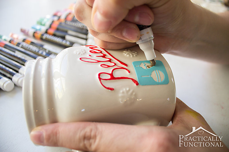 Use paint pens and adhesive stencils to make a simple DIY painted mug