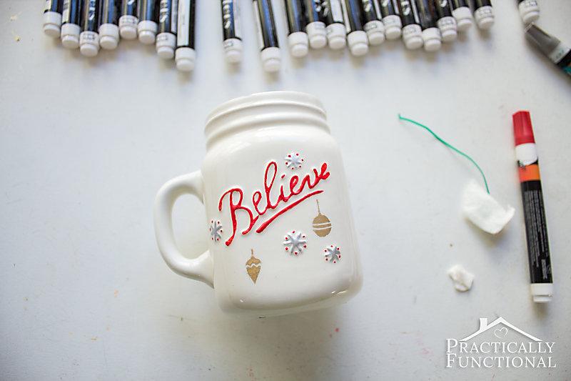 Make a simple DIY painted mug using paint pens and adhesive stencils