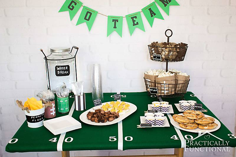 Great football party ideas! Food and football themed decorations for any super bowl party or football themed birthday party!