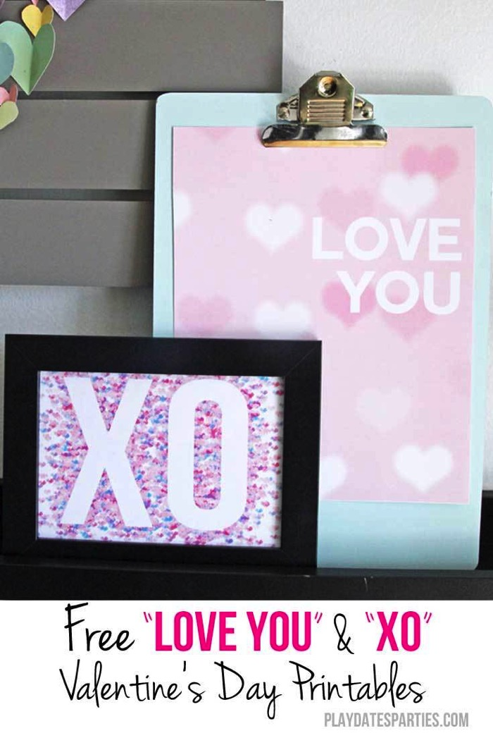 Free Love You and XO Valentine's Day Printables - and 19 other fun valentines crafts!