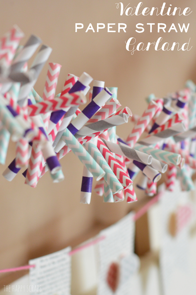 Valentine Paper Straw Garland - and 19 other fun valentines crafts!
