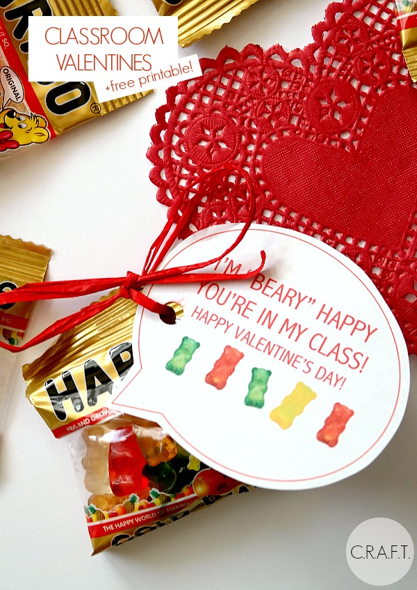 I'M BEARY HAPPY YOU'RE IN MY CLASS! - and 9 other cute printable valentines!