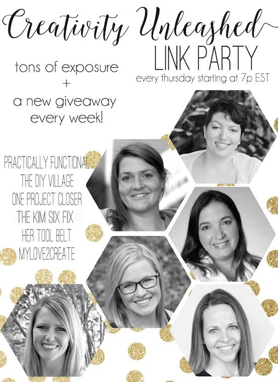 Creativity Unleashed link party, with a new giveaway every Thursday night at 7pm ET!