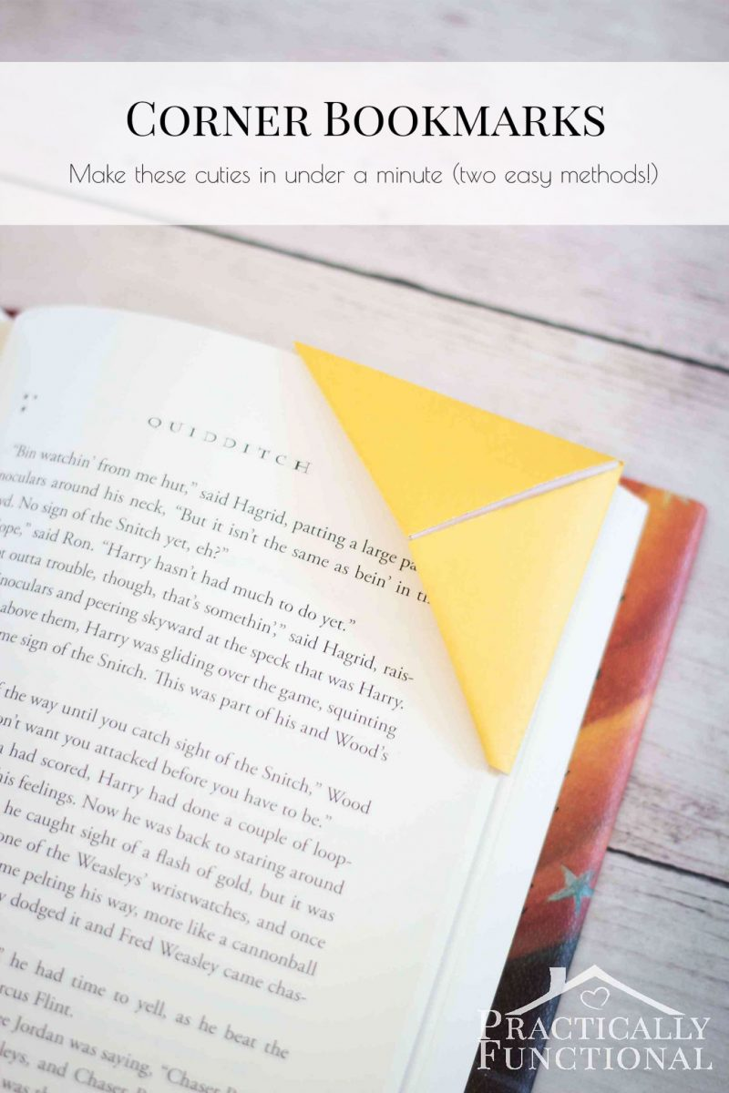 Learn how to make corner bookmarks out of paper in under a minute! Two easy methods with a video tutorial for each!