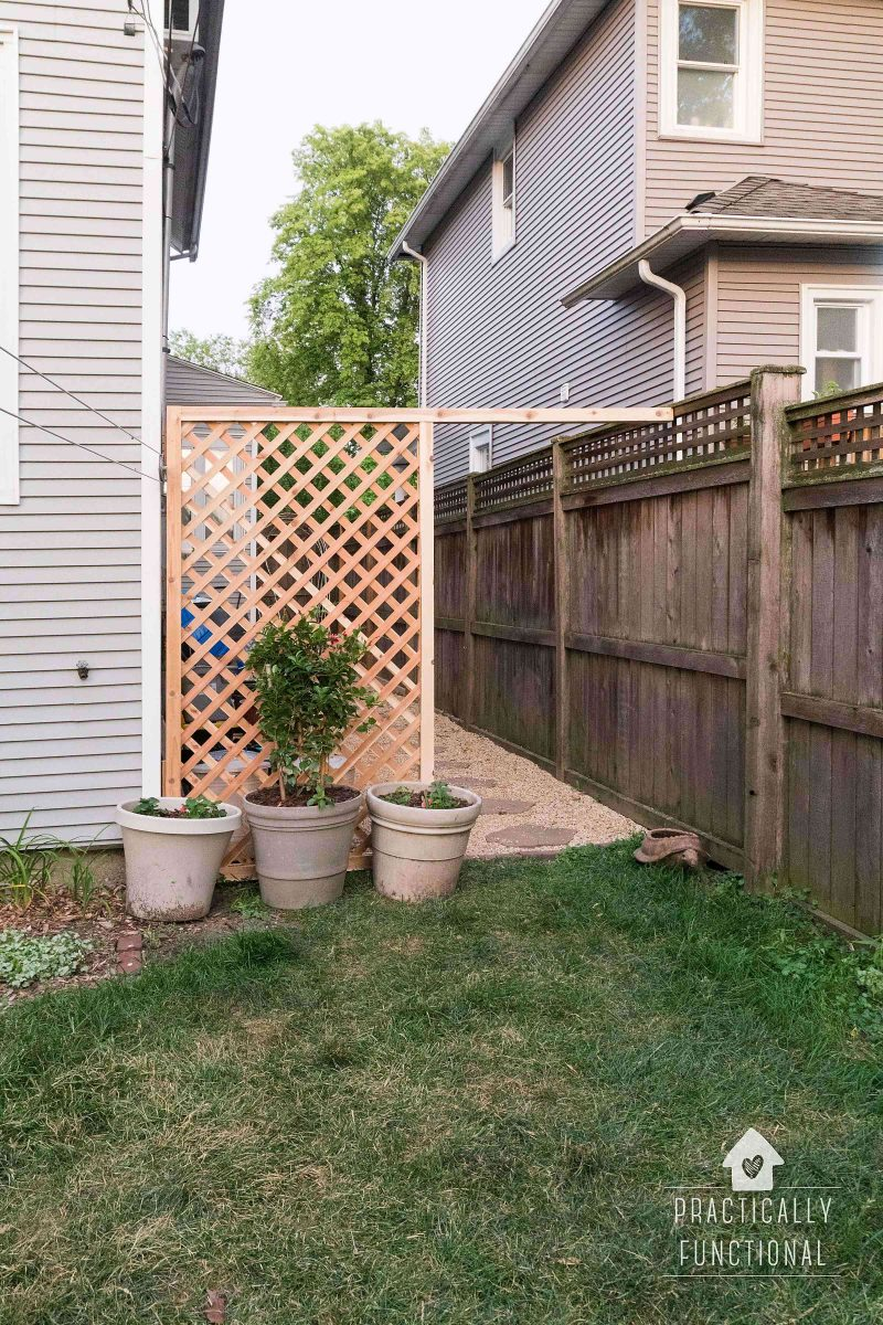 Simple DIY trellis screen to hide ugly areas in your yard