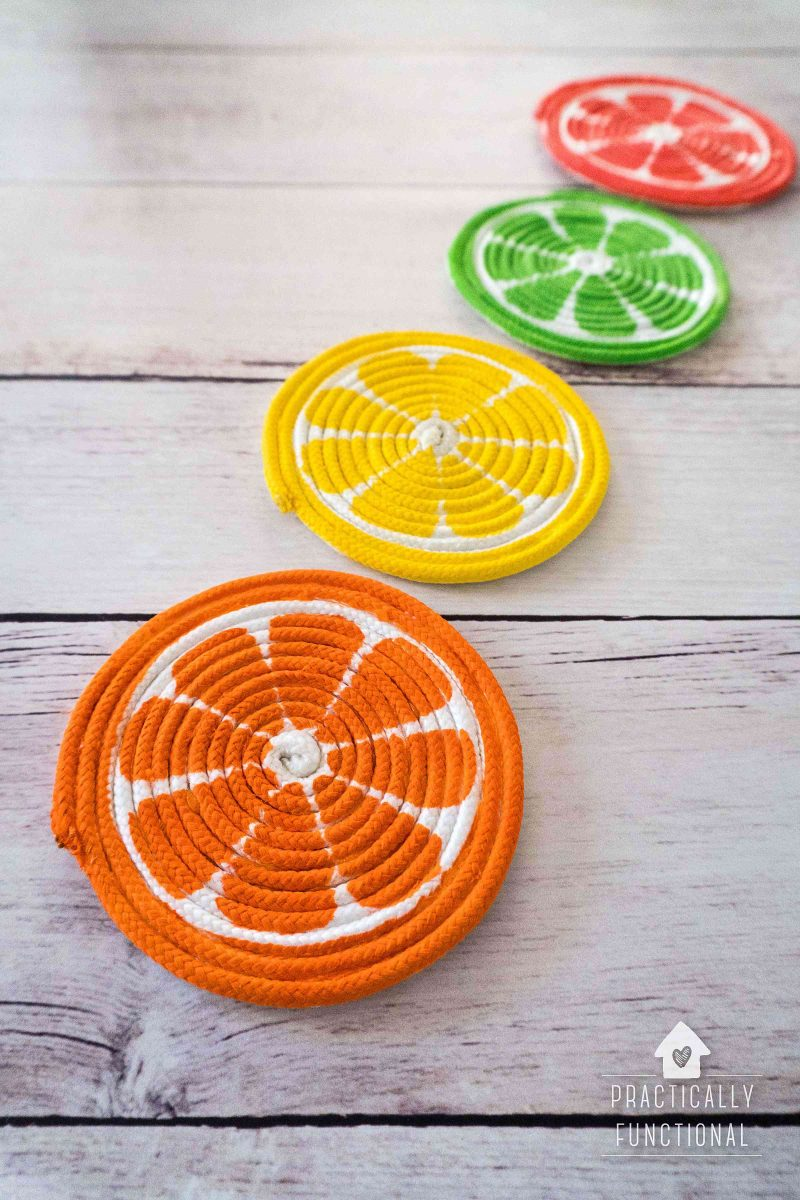 DIY Painted Rope Coasters