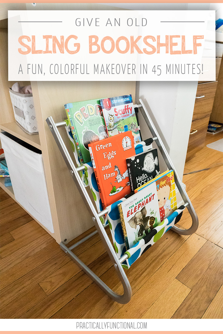 kids sling bookshelf makeover