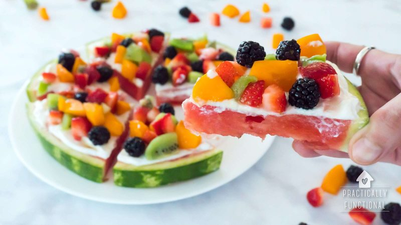 Watermelon pizza recipe with fruit toppings