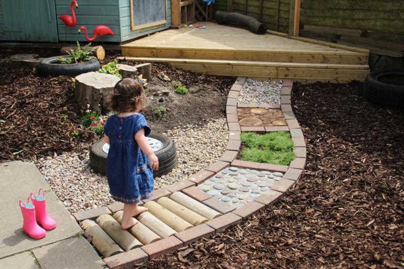 DIY barefoot sensory pathway