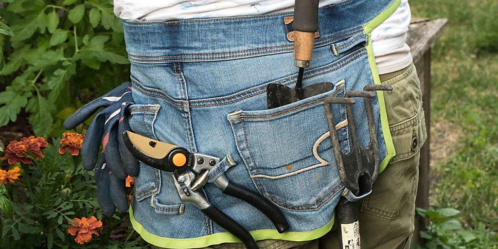 belt tool garden lover gift repurposed blue denim garden apron gift for him