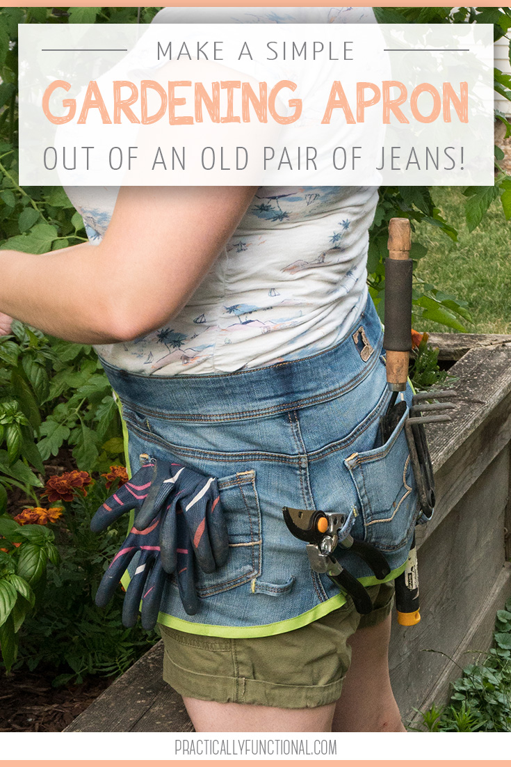 DIY gardening apron from a pair of old jeans