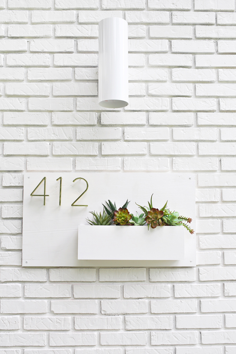 stylish house number planter