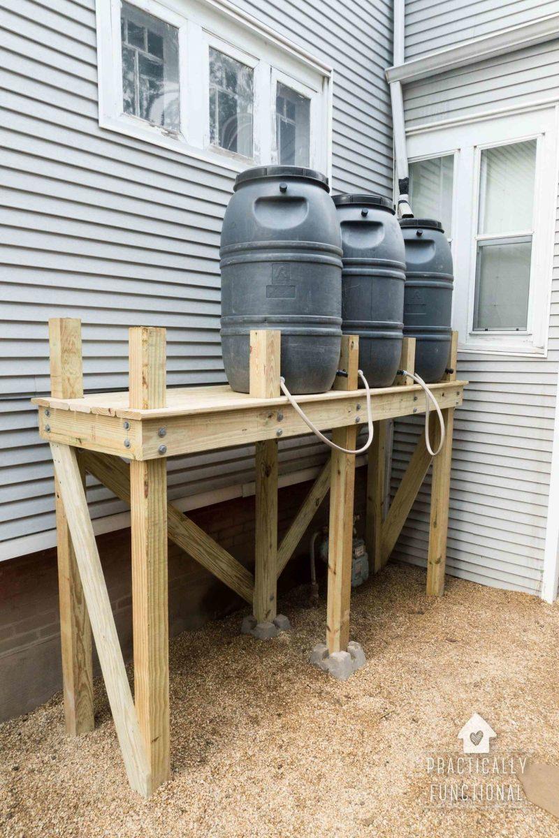 DIY Rain Barrel Stand For Multiple Rain Barrels