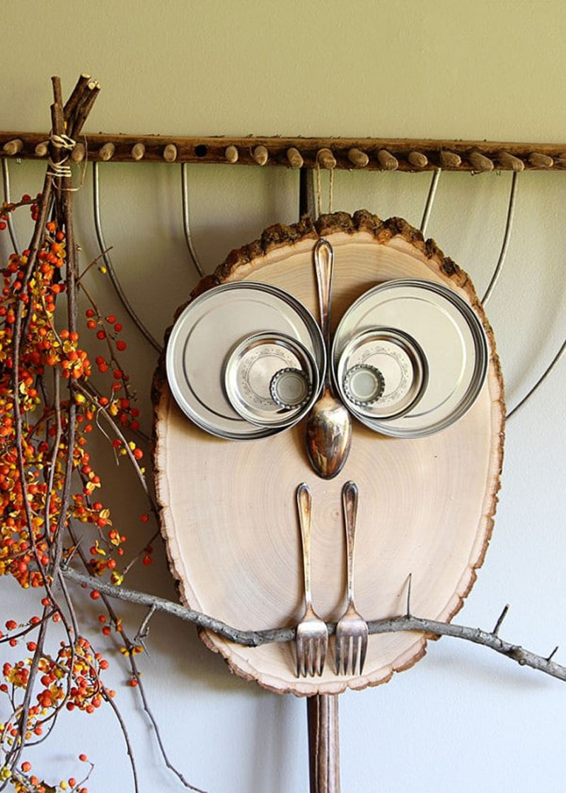 upcycled wooden slice owl