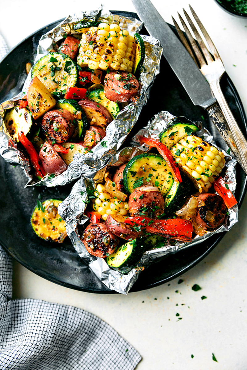sausage and veggie foil packs