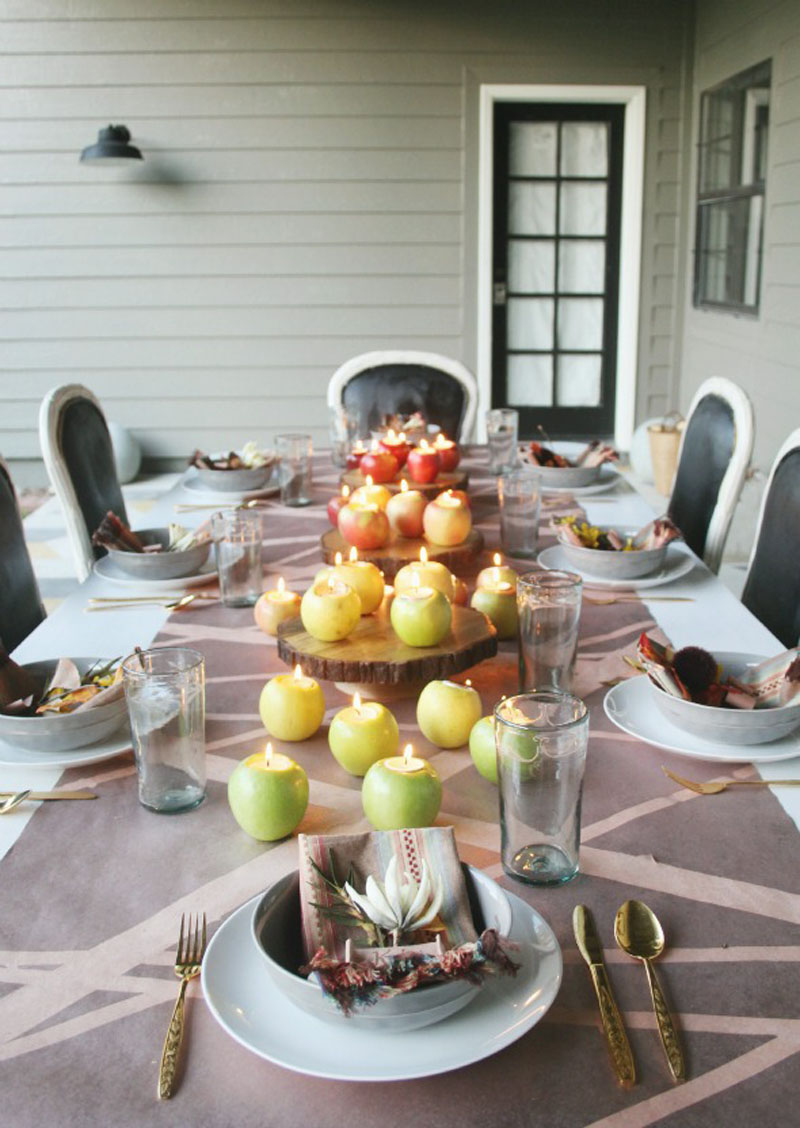 apple votive holder center piece