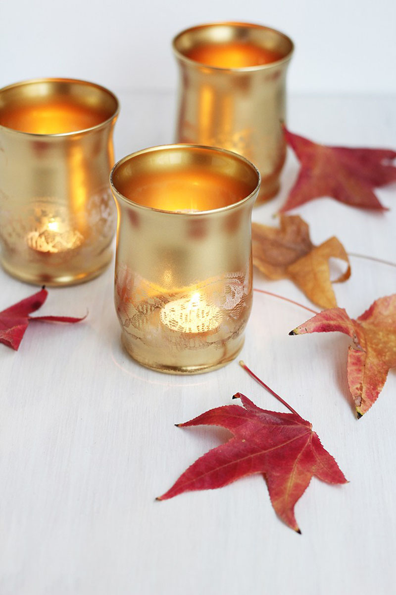 gold spray painted votive holders