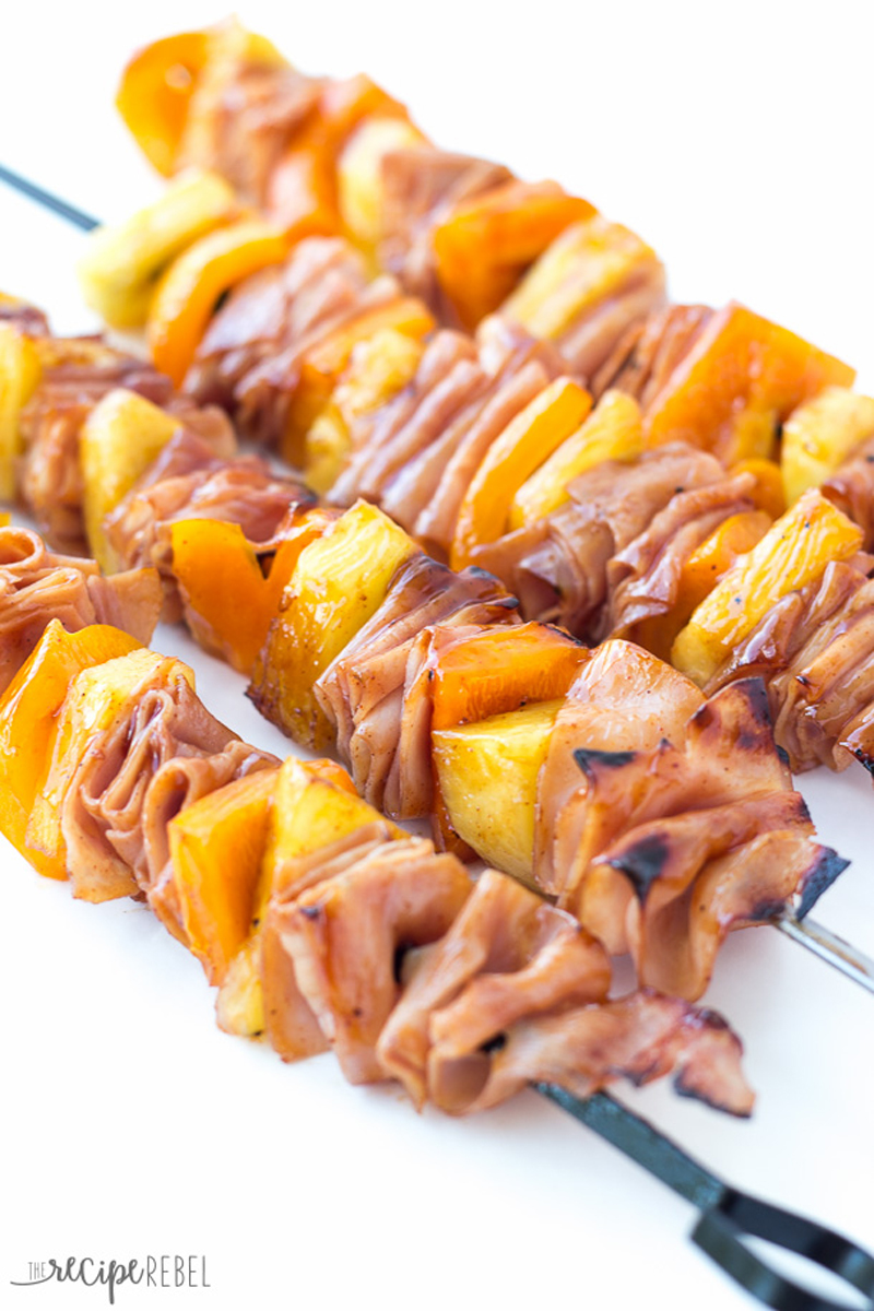 bbq grilled ham and pineapple skewers