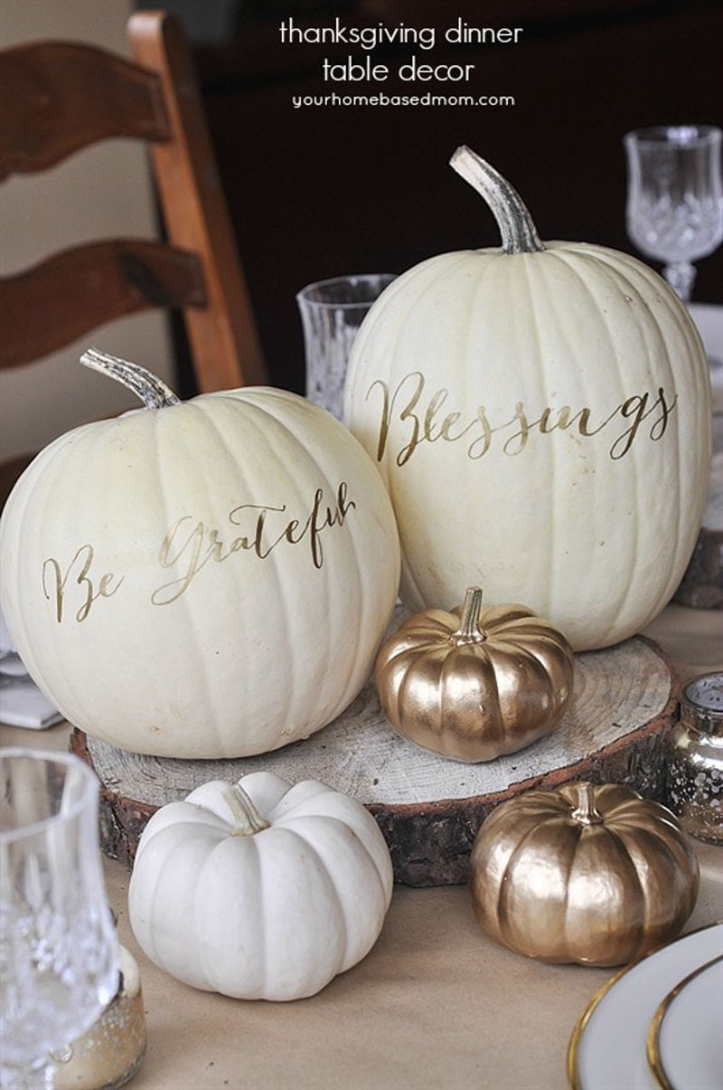 Gold Painted Pumpkin Fall Centerpieces