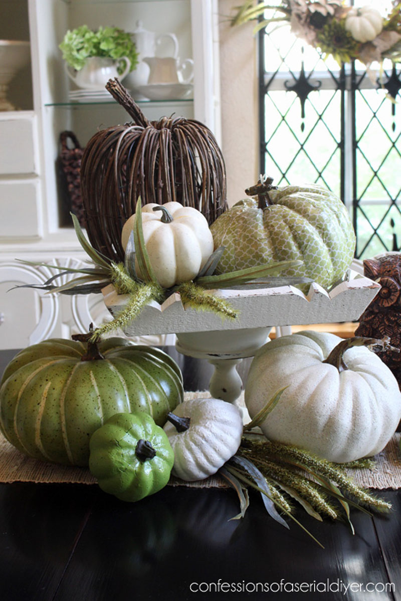varying height pumpkig centerpiece