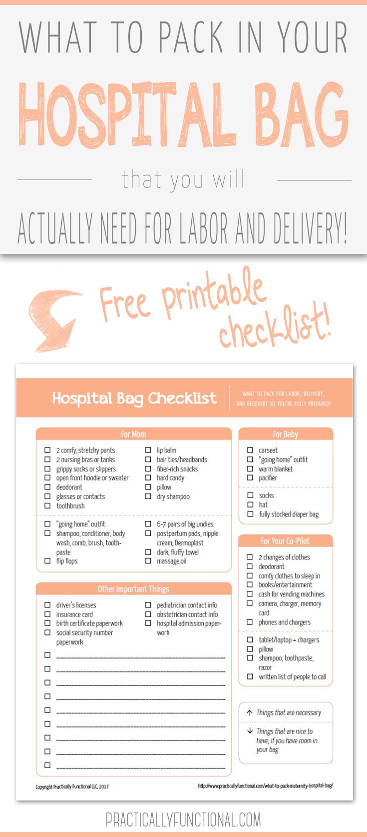 graphic about Printable Hospital Bag Checklist for Labor and Delivery titled What On your own Seriously Need to have In just Your Maternity Medical center Bag