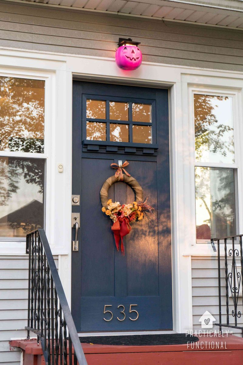 DIY pumpkin porch light