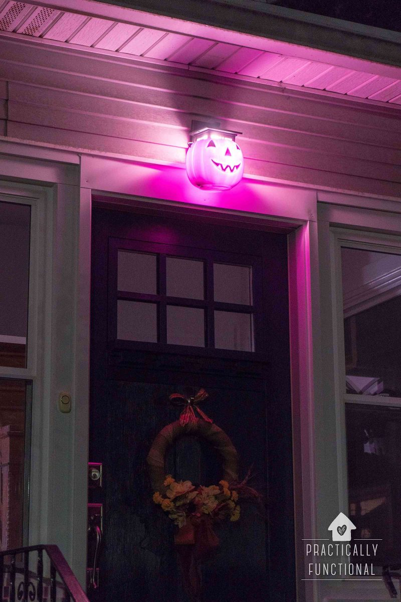 Diy Pumpkin Porch Light For Halloween