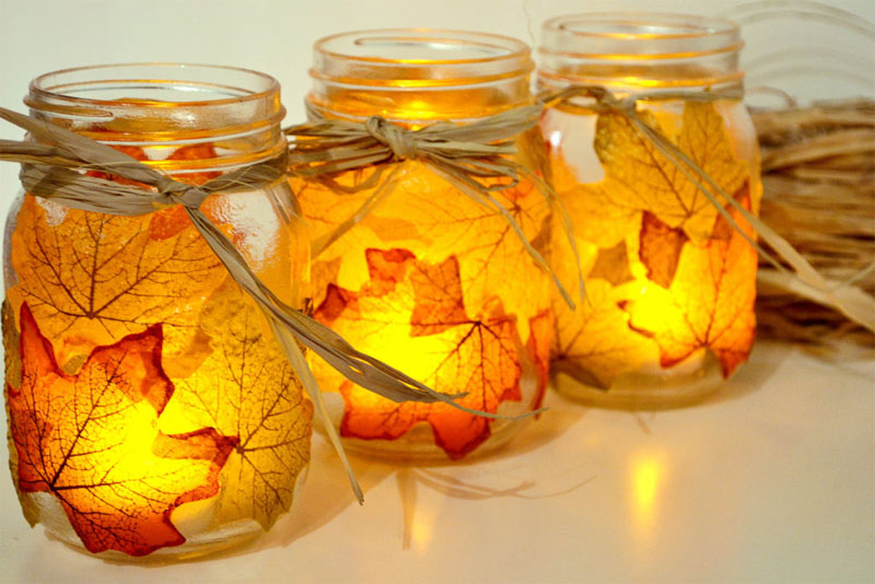 fall themed canning jars