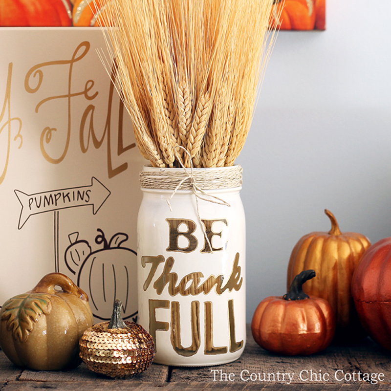 be thankful mason jar